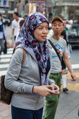 Shibuya Crossing - Woman Wearing Hijab