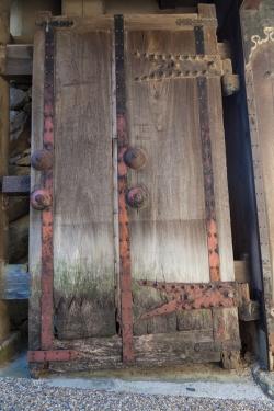 Old heavy door at Himeji Castle