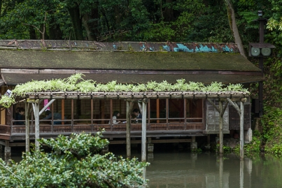 Teahouse over Hisagoike Pond